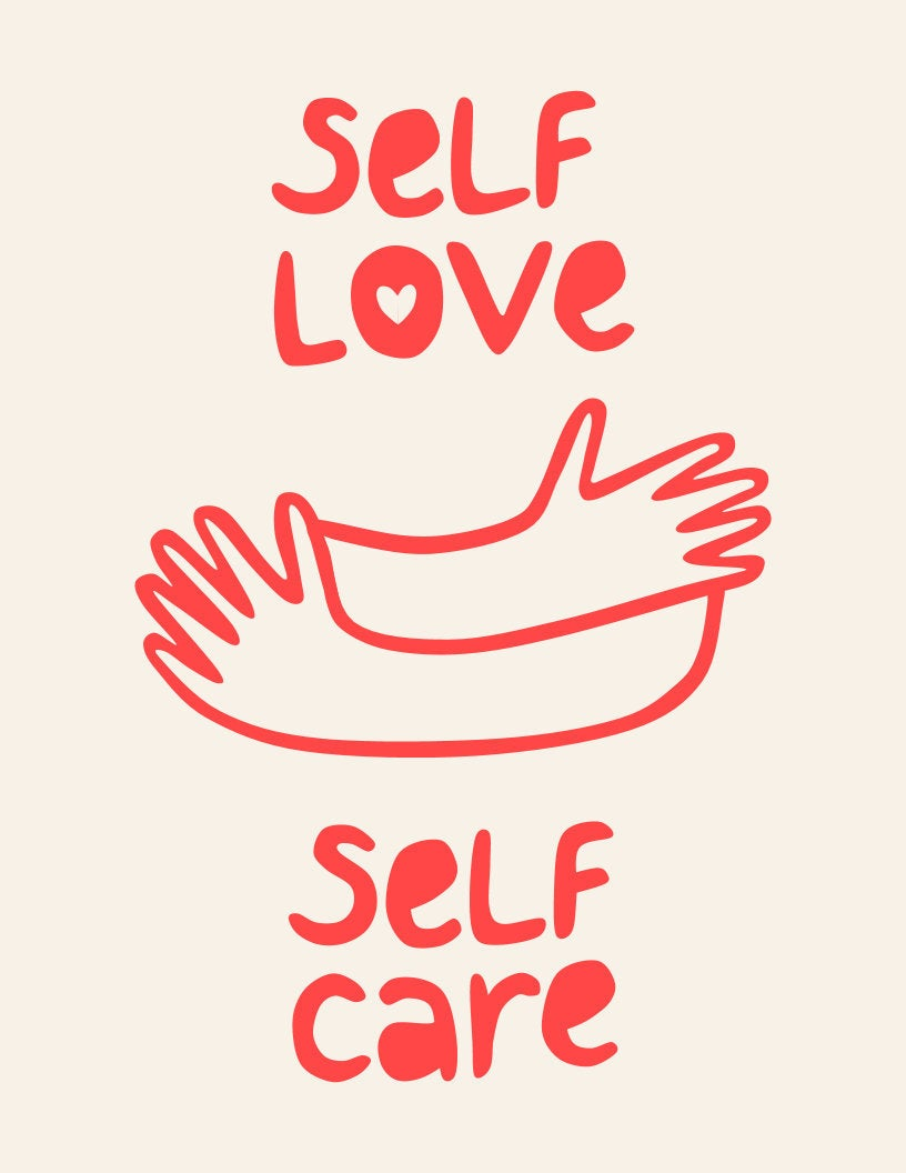 self love self care hugging print
