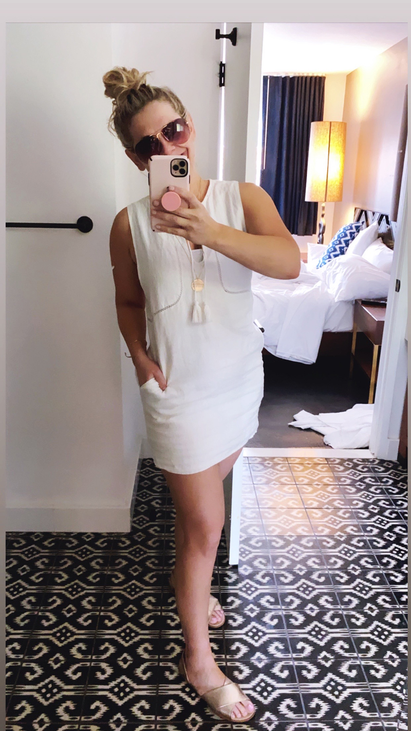 white summer dress with pockets