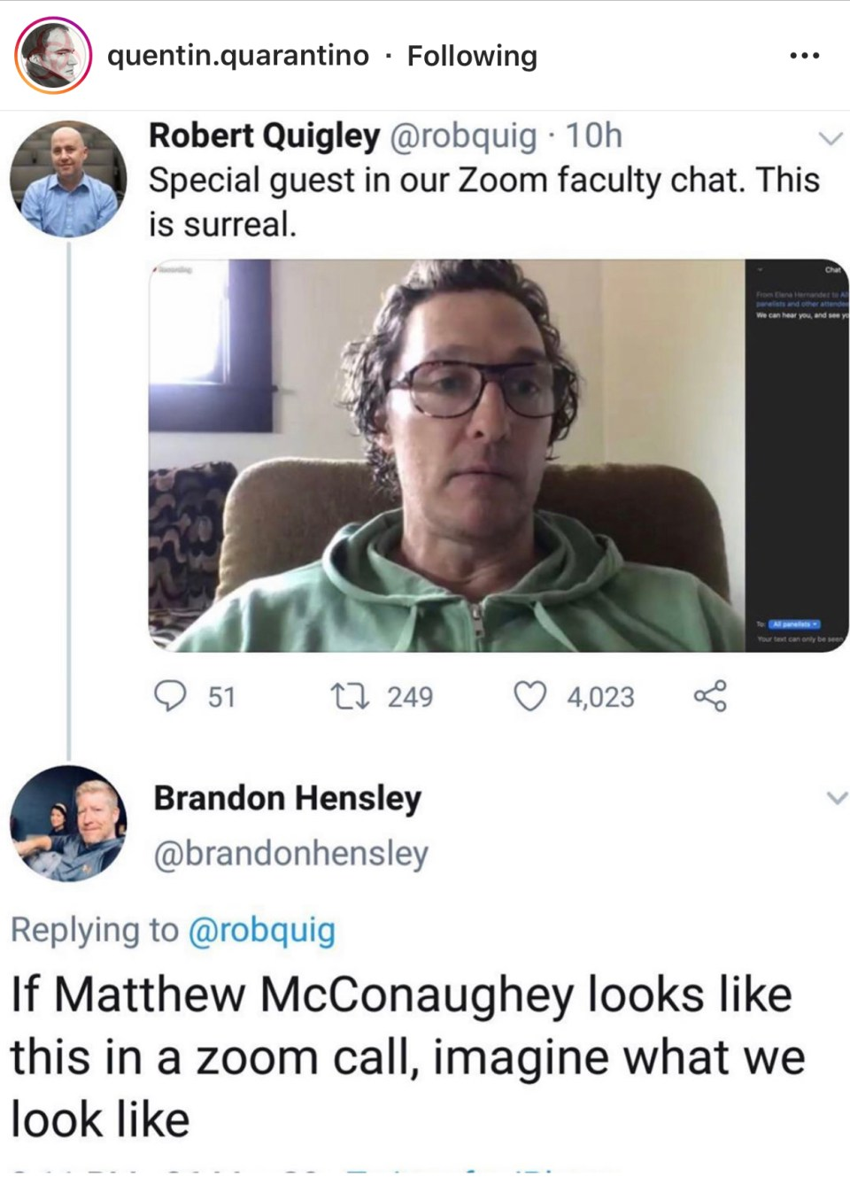 quarantine meme with matthew mcconaughey