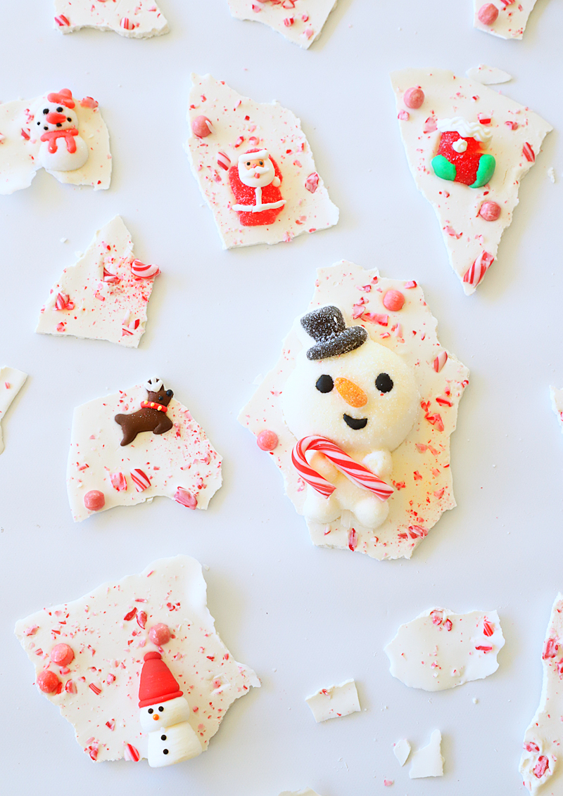 christmas candy bark with lots of candy