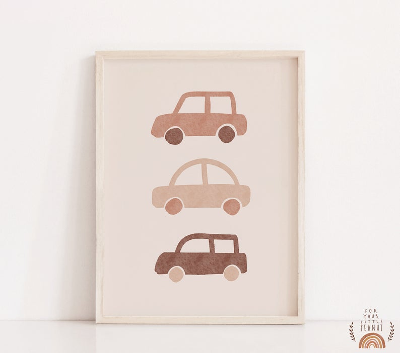 3 cars peach colored boho art print for kids