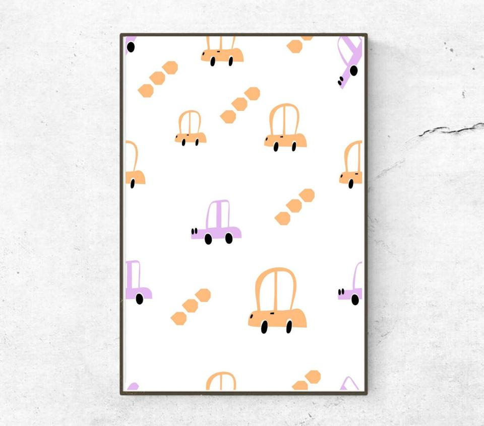 purple and orange car art print