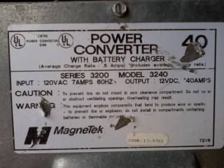 The specs on the power converter.