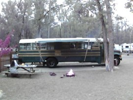 Saras Campground, Site 21, with the bus settled and the fire burning down for Toastites.