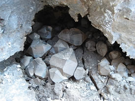 Herkimer Diamonds in a cavity 'cache'.