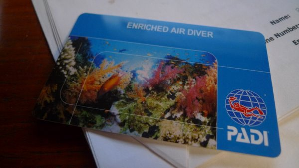 Just Arrived: PADI Enriched Air Certification Card – A Bugged Life