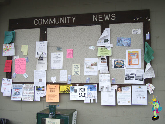 The little town was so cute! This was their Community News bulliten