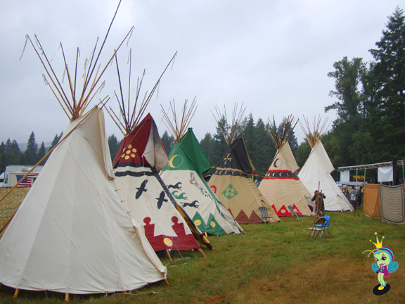 These teepees were the green rooms backstage