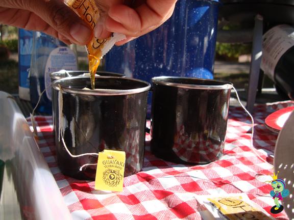 honey, ginseng, chai tea for breakfast