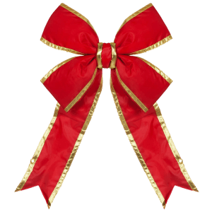 3D Red Bow with Gold Trim -