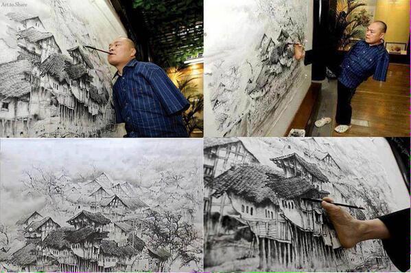 شخص مبتور الذراعين يرسم لوحة جميلة