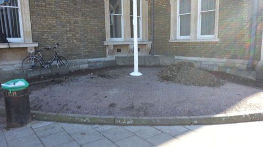 Abundance London Flag Pole Garden cleared