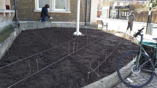 Abundance London Flag Pole Garden preperation