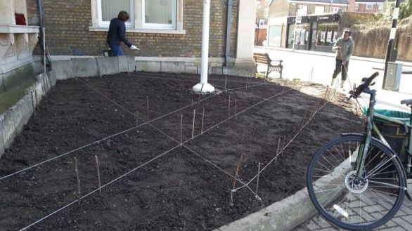 Abundance London Flag Pole Garden preperation