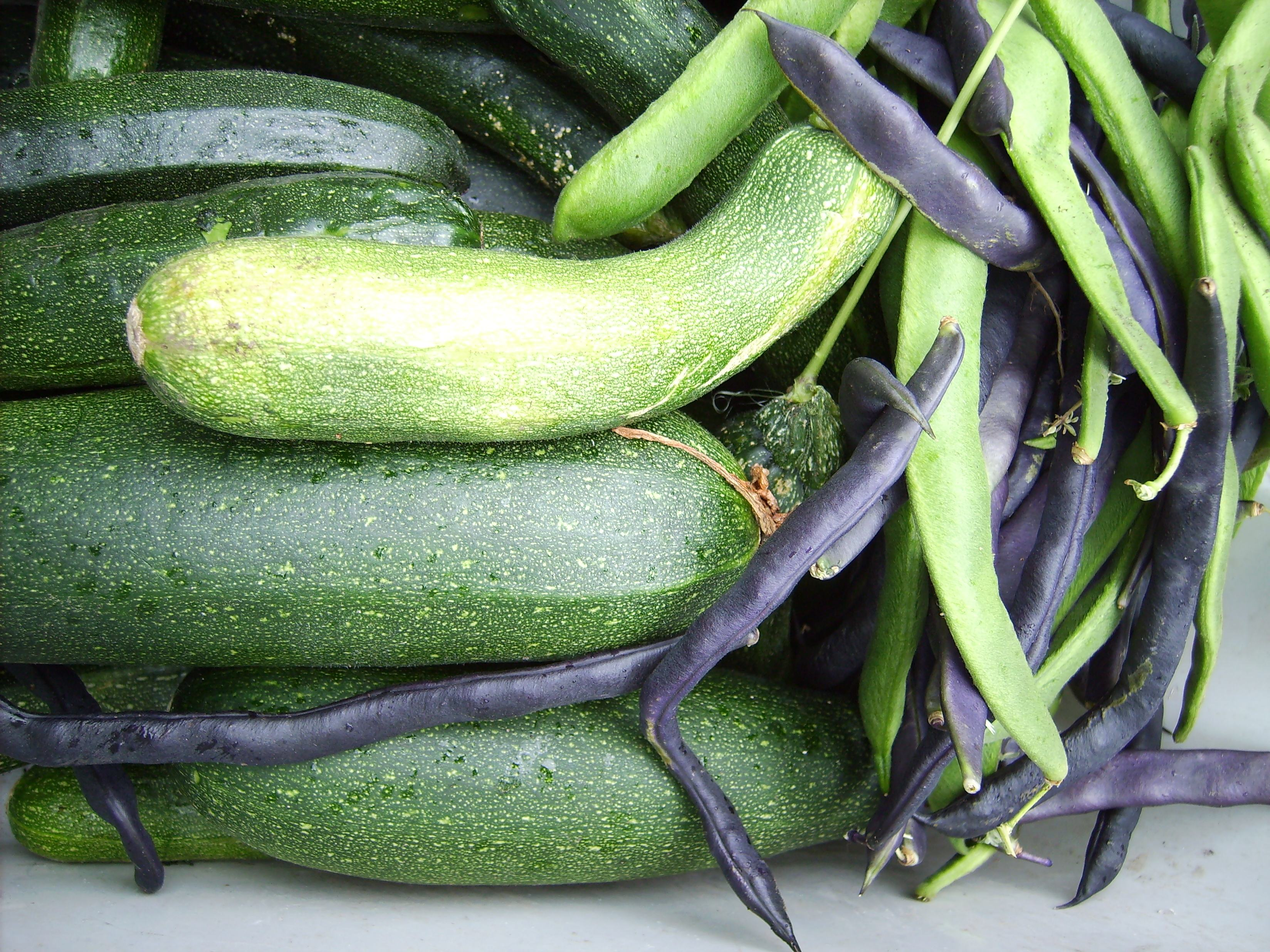 Courgettes and beans close
