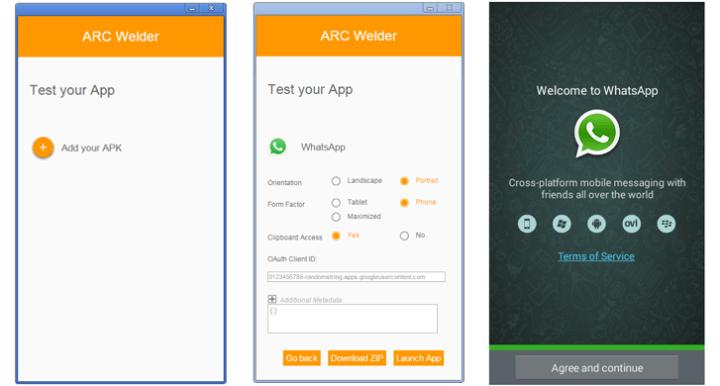 Whatsapp with ARC Welder