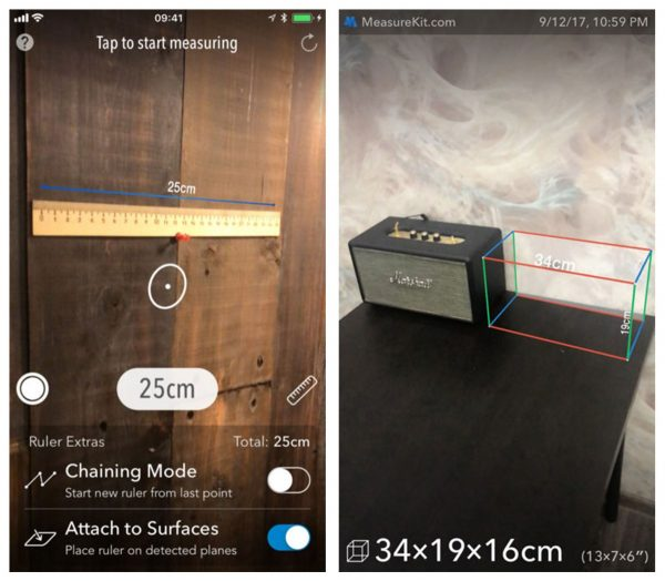 AR MeasureKit app iOS 11