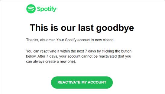 حذف حساب سبوتيفاي