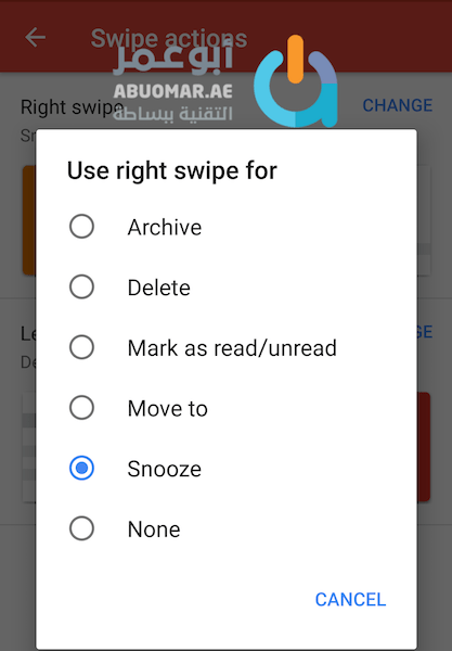 Gmail Swipe actions options