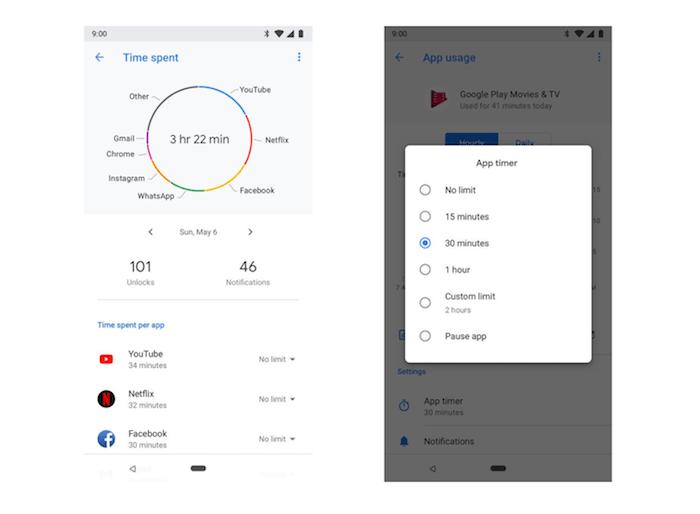 Google Digital Wellbeing app timer