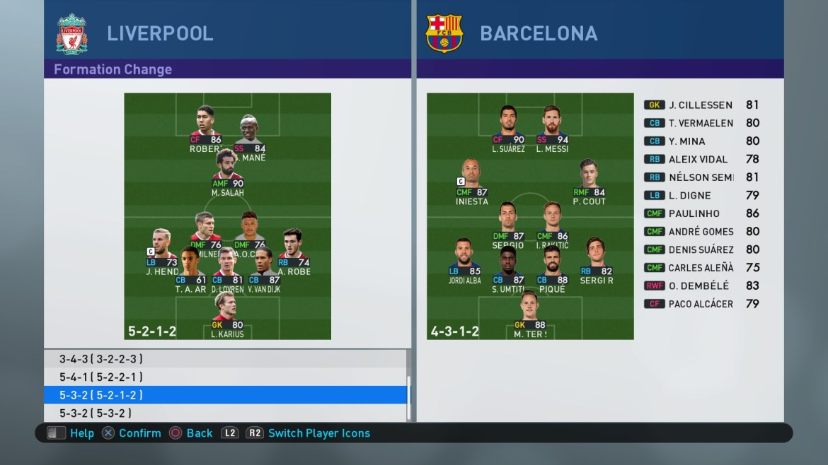 PES 2019 Formations