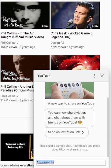 Youtube Conversations window