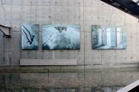 Água, espaços abertos, fotografias, arte. O contraste da leveza com o concreto.