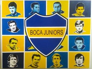 Brasão e ídolos do Boca Juniors.