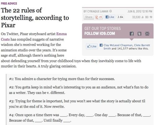 Storytelling accoring to Pixar