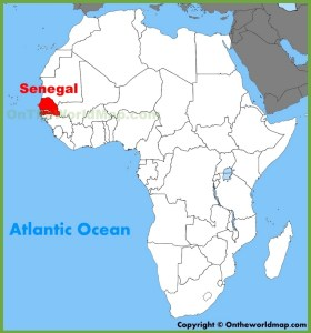Map of Africa showing Senegal