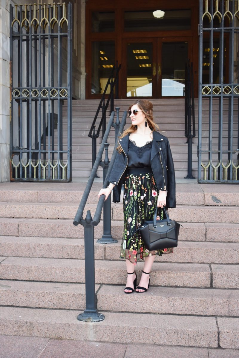 embroidered midi skirt   how to wear a midi skirt   midi skirt outfit fall   midi skirt outfit winter   midi skirt pattern   moto jacket outfit   embroidered outfit   what to wear to NYFW