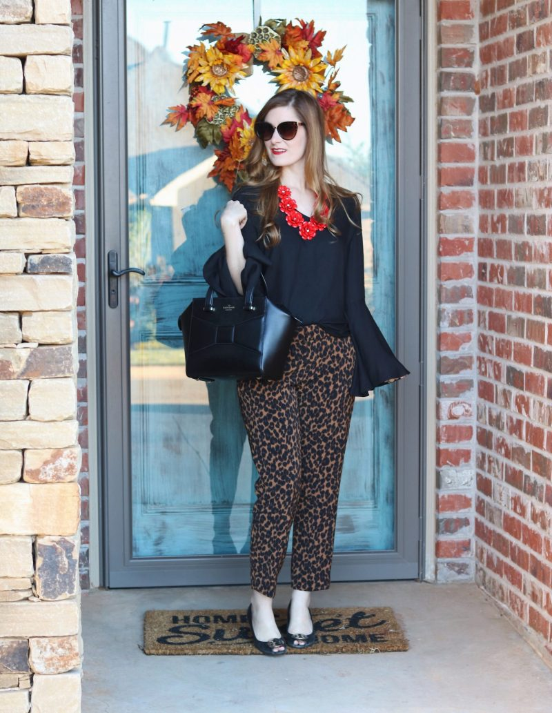 leopard pants old navy | leopard pants office | leopard pants 2017 | leopard pants outfit | business casual fall | business casual 2017 | leopard and red outfit |leopard and red outfit work wear
