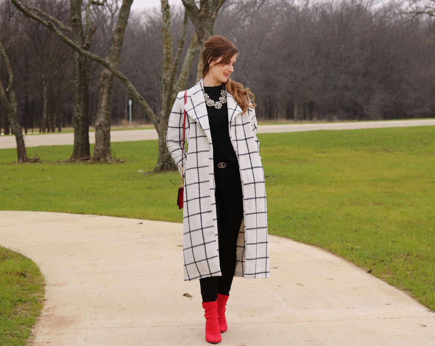 Drape Collar Grid Longline Coat  dding a pop of color to a neutral outfit   neutrals and a pop of red   all black and a pop of red   Gucci belt   red booties   red tory burch bag   sugar fix necklace   draped collar coat   shein outfit