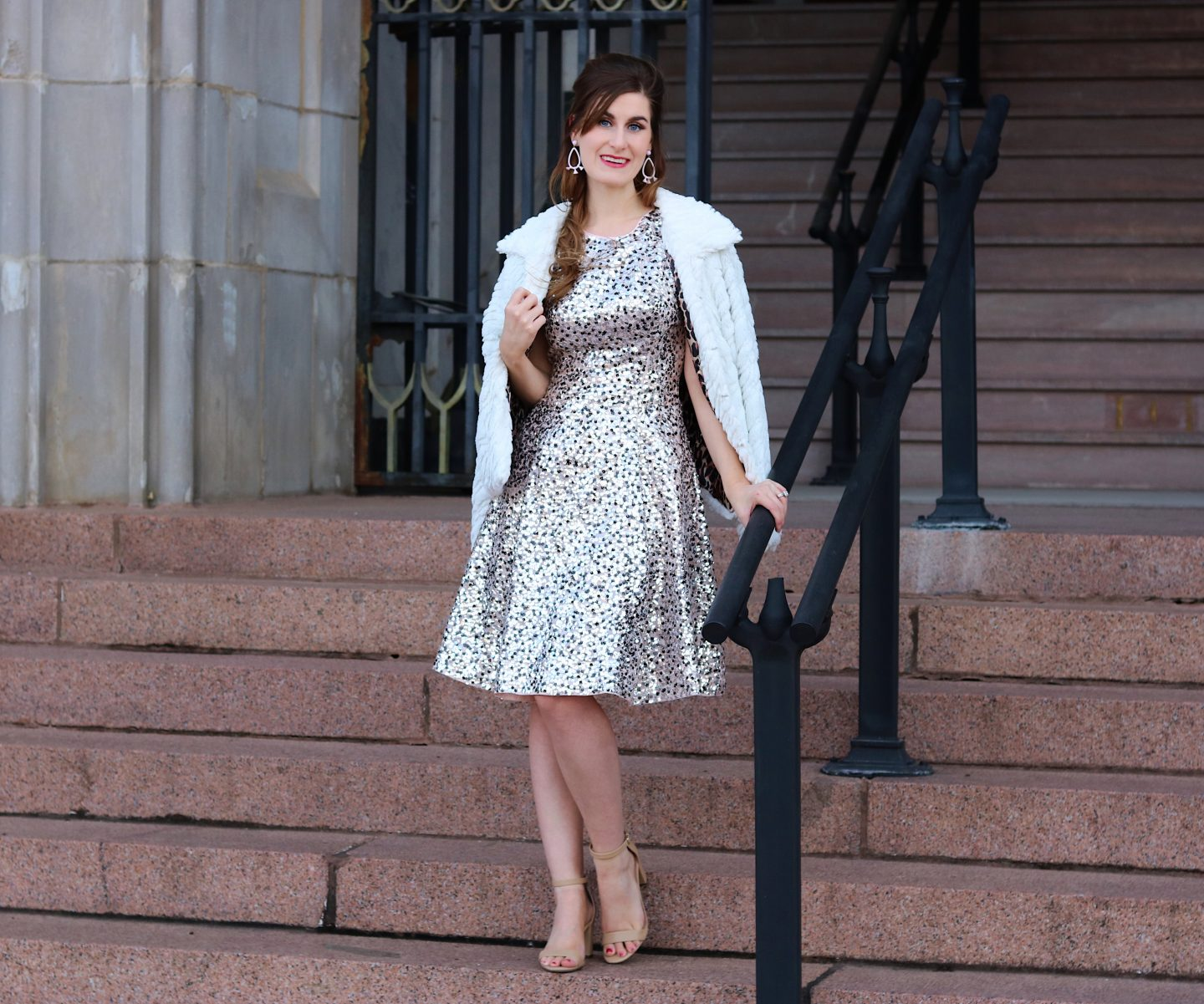 one year blog anniversary | sequin dress | fur jacket | winter formal dress
