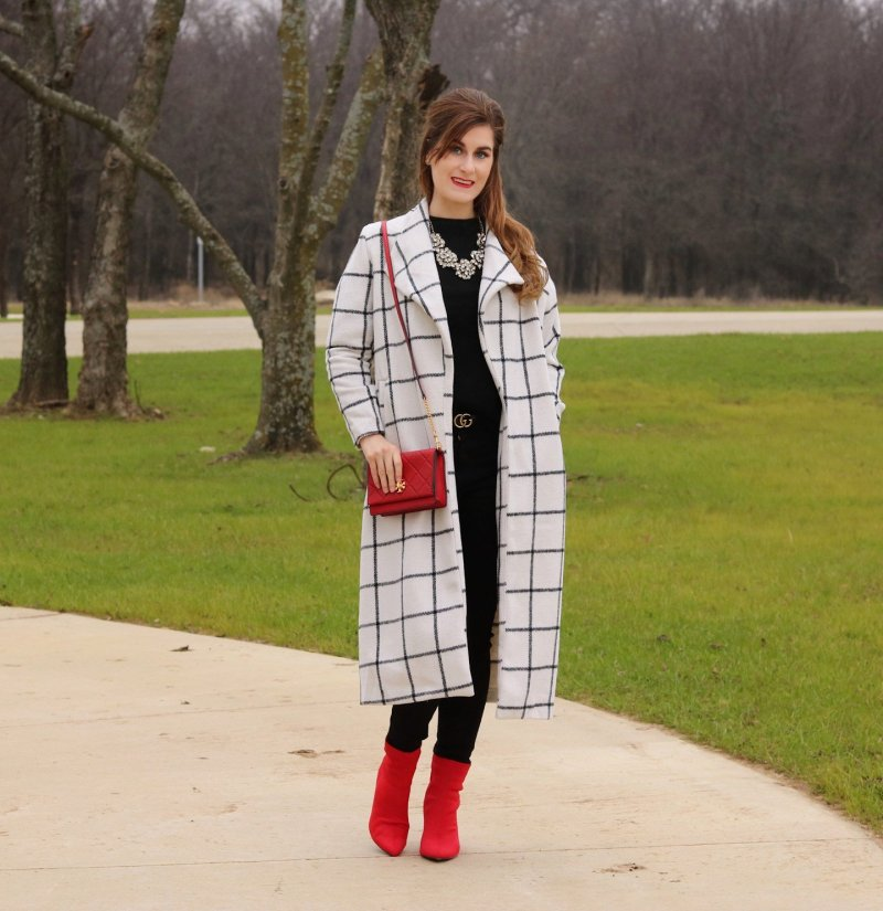 Drape Collar Grid Longline Coat| dding a pop of color to a neutral outfit | neutrals and a pop of red | all black and a pop of red | Gucci belt | red booties | red tory burch bag | sugar fix necklace | draped collar coat | shein outfit
