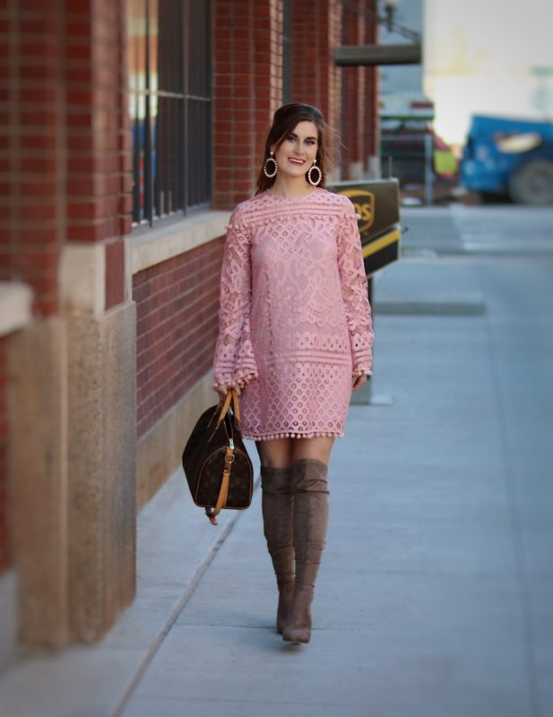 Crochet pom shein dress | what to wear for valentines day | Casual Valentine's Day outfit