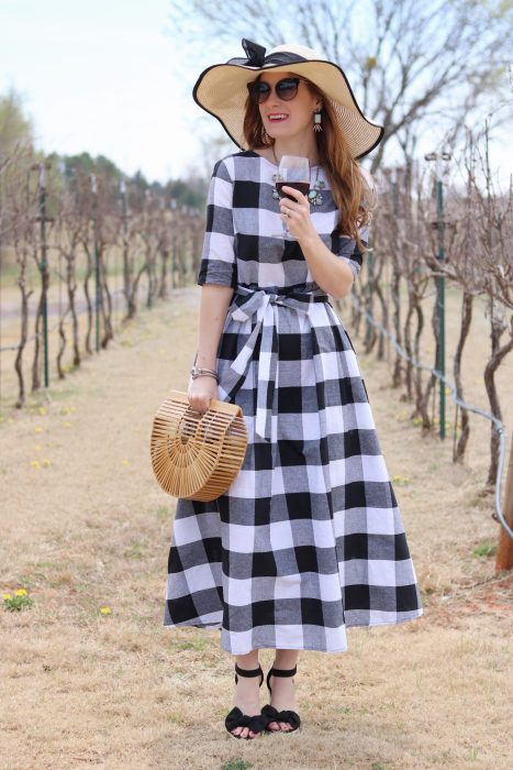 Shein Buttoned Keyhole Self Tie Checkered Dress | Gingham dress | gingham dress outfit| winery outfit spring| winery outfit spring wine tasting | wine tasting outfit | gingham dress blue necklace | OKC Winery | Clauren Ridge Winery | Warby Parker Cleo Sunglasses