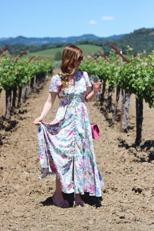 Napa | napa valley outfit| napa valley outfit summer | Napa valley guide | napa valley outfit wine tasting | things to do in napa | Napa on a budget | napa restaurants | SHEIN  Button Split Front Flare Maxi Dress