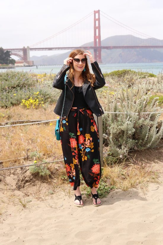 SheinFrilled Waist Floral Wide Leg Pants | Frilled Waist Floral Wide Leg Pants | san francisco | san francisco guide | san francisco things to do in | san francisco things to do in golden gate bridge| san francisco style| san francisco style summer| san francisco style fall