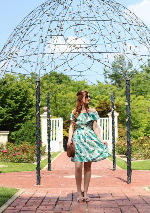 Birmingham Botanical Gardens | palm leaf dress outfit | Birmingham, Alabama | what to do in Birmingham, Al | Birmingham, al botanical gardens | summer outfit ideas | summer date ideas | Birmingham, Alabama date ideas | botanical gardens