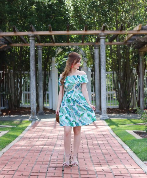 Birmingham Botanical Gardens | palm leaf dress outfit | Birmingham, Alabama | what to do in Birmingham, Al | Birmingham, al botanical gardens | summer outfit ideas | summer date ideas | Birmingham, Alabama date ideas