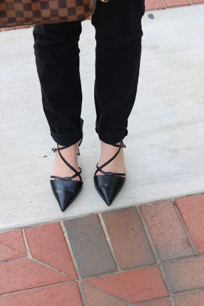Erica Strappy Pumps - Nappa Leather   Talbots   Slim Ankle Jean - Never Fade Black   Perfect Ponte Blazer- Solid   grey and black outfit   grey and black outfit fall   grey blazer outfit   grey blazer black outfit