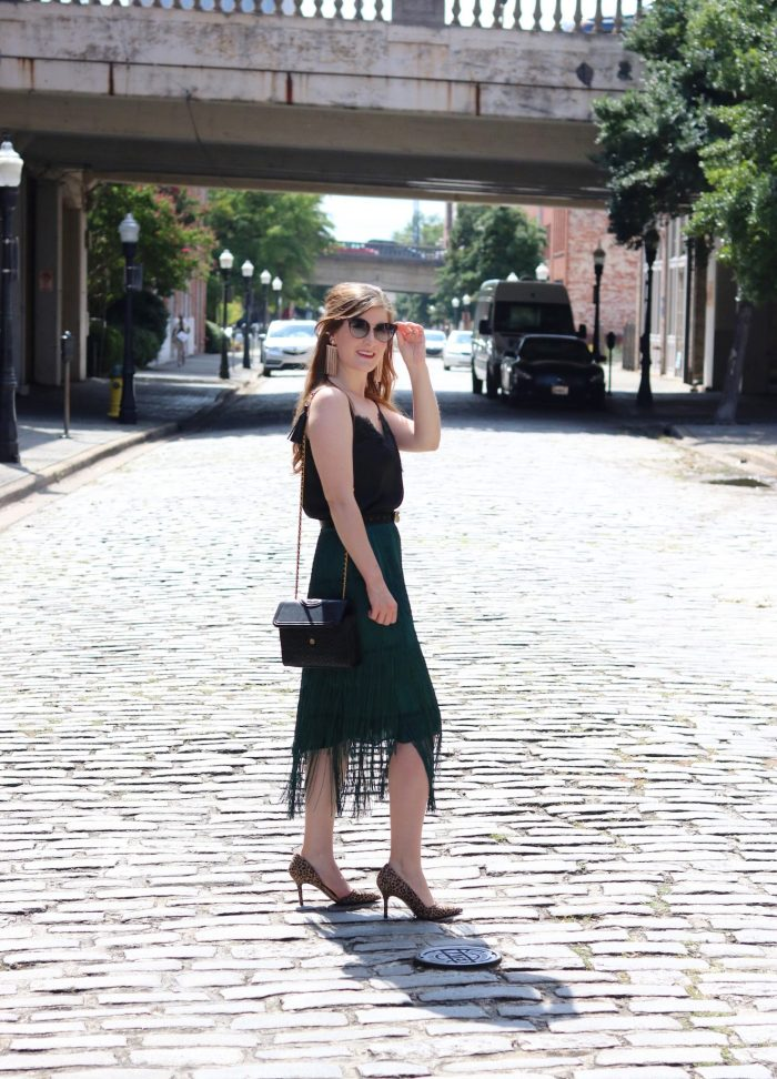 TIERED FRINGE SKIRT   Shein TIERED FRINGE SKIRT   emerald green skirt outfit   emerald green skirt outfit fall   emerald green skirt with black   fringe skirt outfit   fringe skirt   fringe fashion