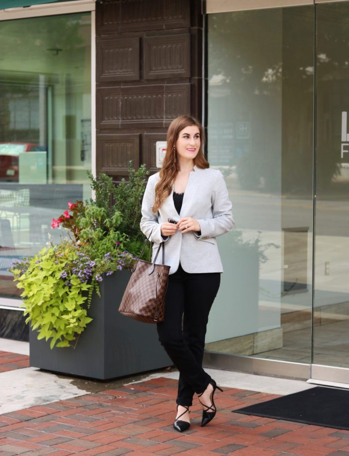 Erica Strappy Pumps - Nappa Leather | Talbots | Slim Ankle Jean - Never Fade Black | Perfect Ponte Blazer- Solid | grey and black outfit | grey and black outfit fall | grey blazer outfit | grey blazer black outfit