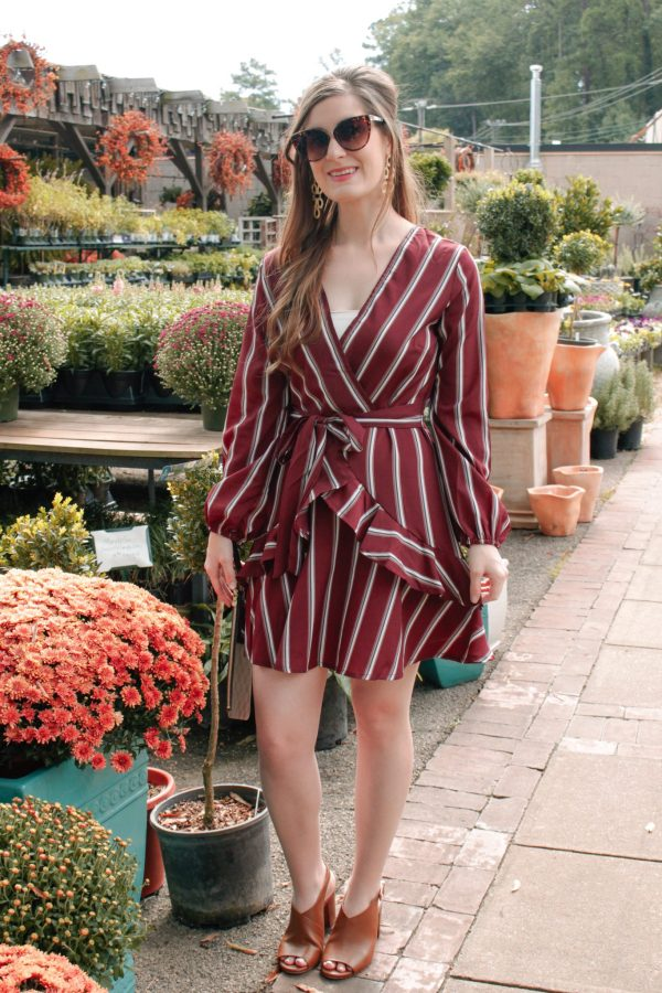 Ruffle Trim Striped Self Tie Waist Dress | Shein Ruffle Trim Striped Self Tie Waist Dress | Fall Exploring at the Garden Shop | fall activities | fall activities for adult | burgundy ruffled dress | fall outfit ideas | fall date night outfits | fall brunch outfit