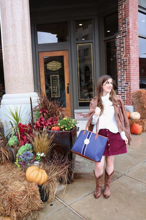 pioneer woman mercantile | pioneer woman mercantile guide | pioneer woman mercantile store | fall outfit | Burgundy skirt outfit | Burgundy and white outfit | red and white outfit | red skirt outfit fall | cowboy boots outfit fall | cowgirl boots outfit fall | sweater and skirt | cowboy boots outfit | Barrington st. Annes tote