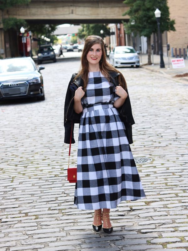 Buffalo Check and Red Accents | Buttoned Keyhole Self Tie Checkered Dress | Shein Buttoned Keyhole Self Tie Checkered Dress | buffalo check | buffalo check fashion | buffalo check outfit | plaid outfit | plaid and red