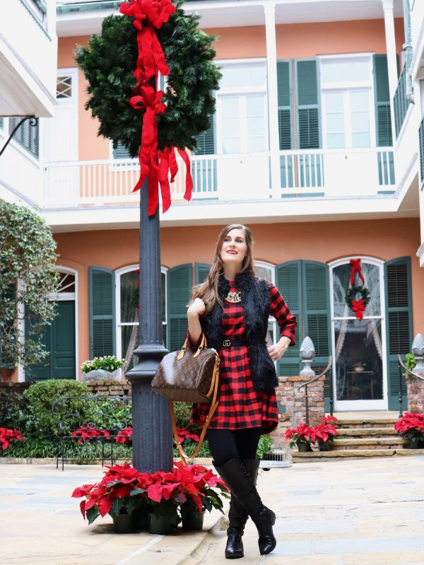 RED BLACK ROUND NECK PLAID DRESS