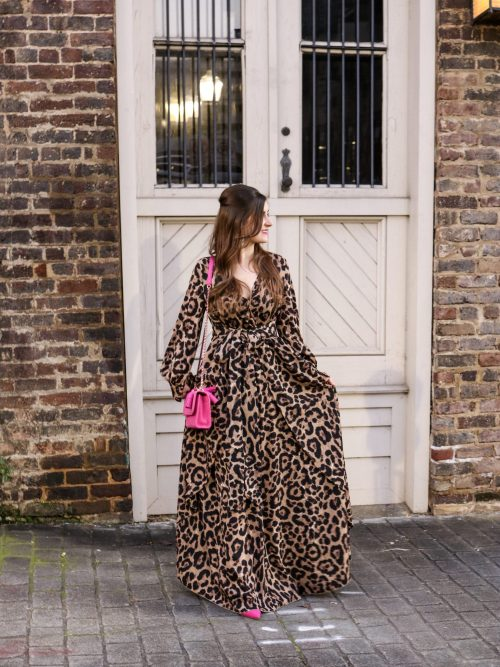 Surplice Neck Leopard Print Overlap Dress | SHEIN Surplice Neck Leopard Print Overlap Dress | Leopard and pink | leopard maxi dress and leather jacket | leopard dress outfit | leopard dress street style | leopard dress winter