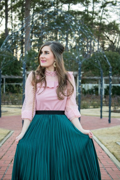 Elastic Waist Asymmetrical Skirt | Dot Mesh Panel Pearl Detail Ruffle Top | Lisi Lerch Margo - Pearl | Mixing pink and green | colorblocking outfits | pink and green outfit | pink and green outfit spring | pink and green outfit preppy | preppy outfits | preppy outfits spring